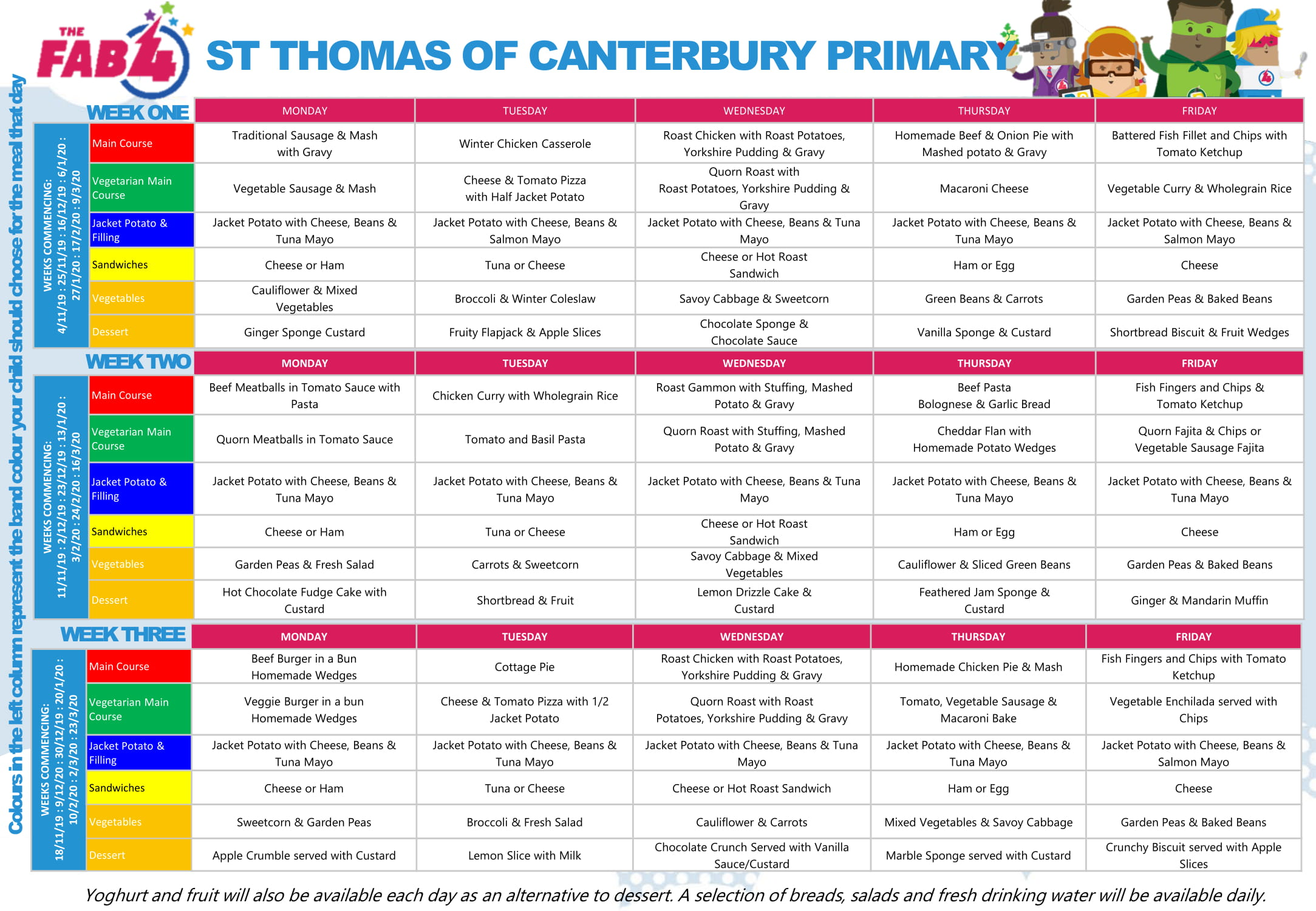 St Thomas of Canterbury 3 Weekly Parent Menu Autumn Winter 19 1
