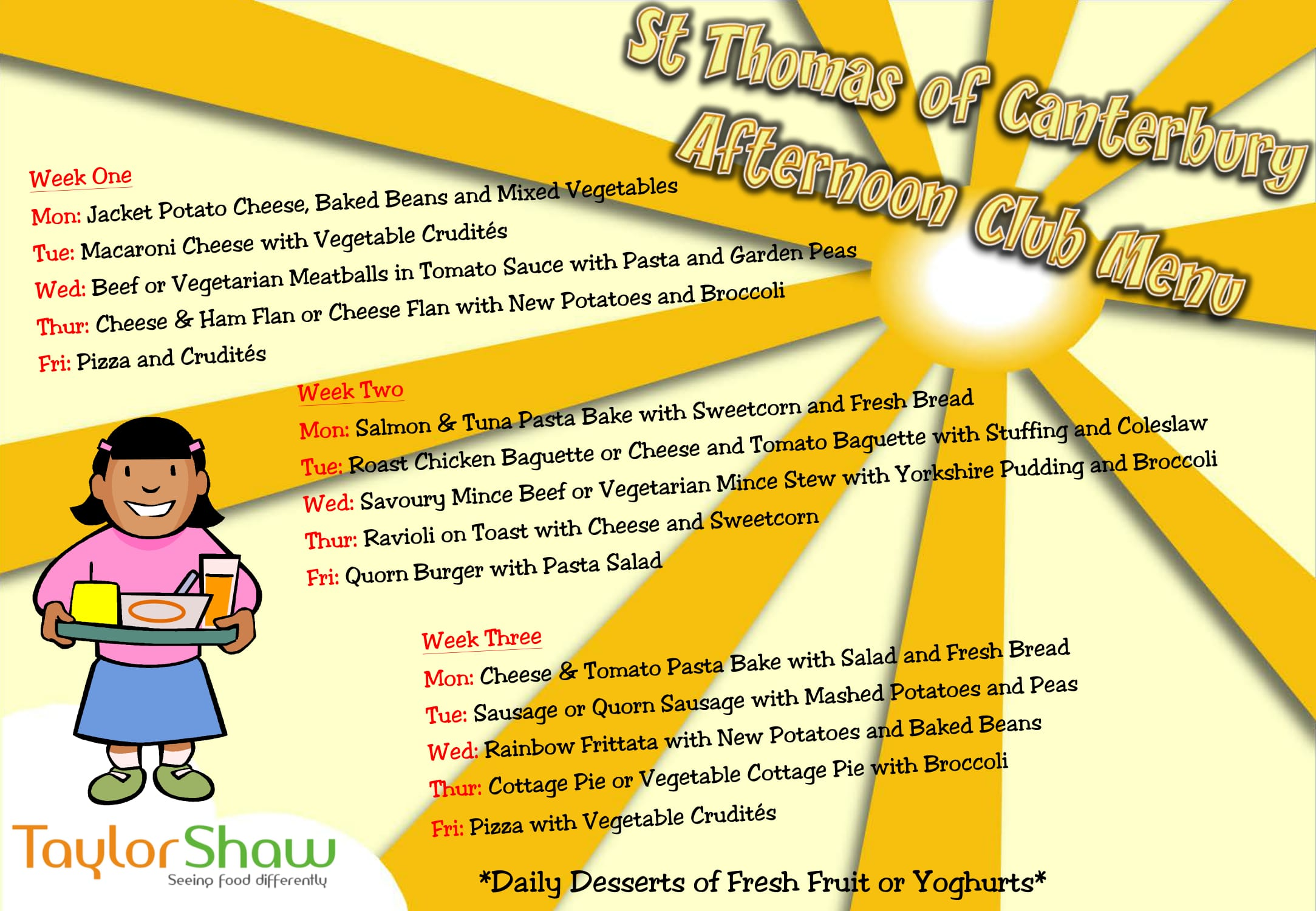 St Thomas of Canterbury Afternoon Club Updated Menu 20.9.17 1